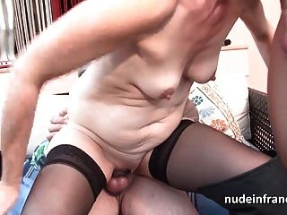 French Mature Banged And Jizz In 3way By A Old And Young Men