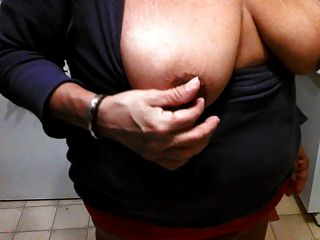 Pinching My Big Dark Nipples