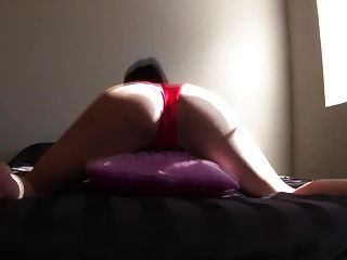 Sexy Brunette Girl Humping Pillow In Red Panties