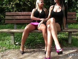 2 German Teens Fucking Public In Park With Voyeur