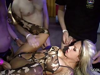 German Pornstar Sexy Cora In Gangbang With 40 Old Men Part 1