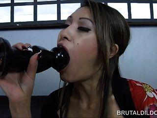 Asian With A Big Brutal Dildo