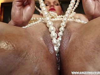 Big Titted Angelina Casto Fucks Pussy With Pearls!!!