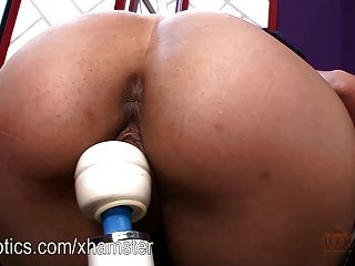 Danica James Bending Over On A Vibrating Beast