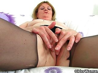 British Milfs Clare And April Masturbate In Nylon Tights