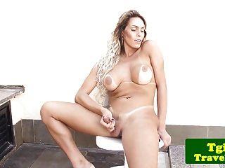 Highheeled Tranny In Biniki Wanking Her Cock