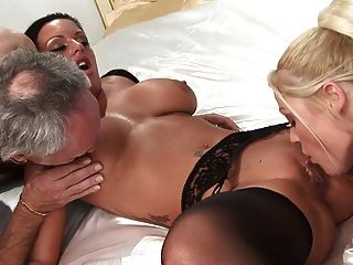 Brunette Slut Fucks Two Men And Her Sexy Blonde Friend In The Living Room