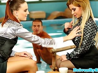 Cfnm Glam Babes Share Dick Next To Pool
