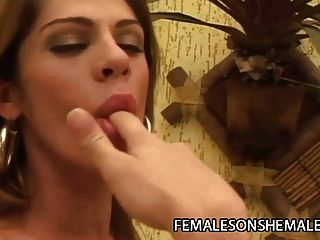 Bia Bastos - Horny Female Caressing A Tranny Cock