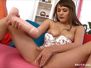 Big Tit Girl Busting Her Pussy With A Thick Dildo