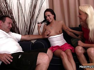 Cute Teen And Mature Couple Threesome