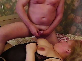 Cumshot Over Blonde Russian Milf Malinas Lovely Big Tits