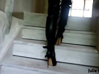 Julie Skyhigh Teasing In Leather Thigh High Boots & Corset