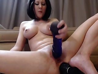 Beautiful Pale Brunette Loves Big Black Dildo Up Her Asshole