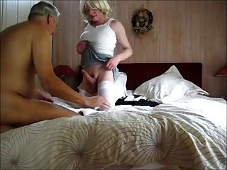 Old Man Sucks Big Balled Crossdresser