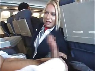Stewardess Handjob And Blowjob