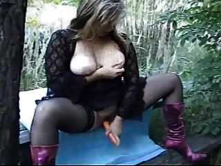 German Blonde Milf In Stockings And Boots Fucked Outdoor
