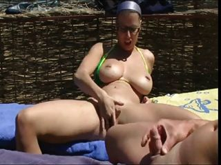 Nude Beach - Hot Pierced Big Boob Brunette Blowjob