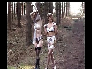 Sara And Jade Strip In The Woods
