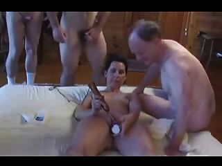 Amateur - Hot Mature Bareback Pierced Wife Gangbang