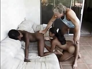 White Guy Fucks Two Black Girls