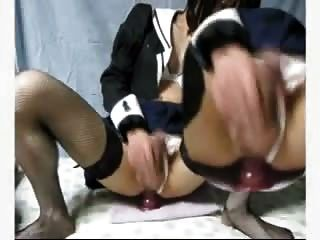 Sexy Crossdresser Rides Dildo Until She Cums Hands Free!