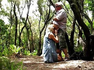Grandma Satisfy Huby Grandpa In Wood
