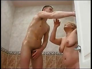 Old Plump Mom With Saggy Tits & Guy