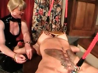 Euro mature heavy pierced slave