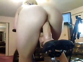Sexy Babe Rides Dildo While On Bike