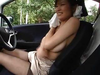 Japanese Cute Girl Drives A Car