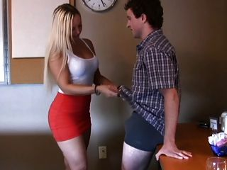 Handjob By Sexy And Busty Blonde