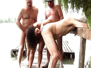 Gabrielle Entertains A Few Old Men On Their Fishing Trip...