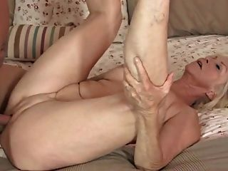 Blonde Granny Riding Cock