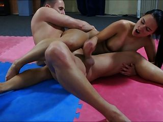 Mixed Wrestling With Handjob