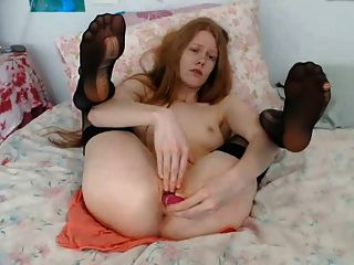 Redhead With A Nice Butthole Playing With The Cooch