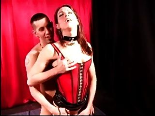 Ts In Latex Corset Gets Blowjob