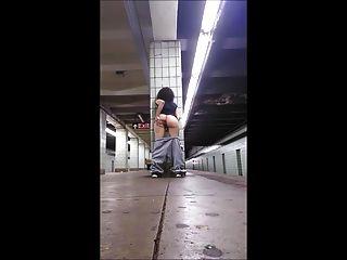 Girl Fingering On Train Platform