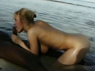 Young Blonde And Her Black Bull Fucking Outdoors