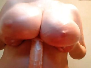 Big Tits In Messy Dildo Tit Fuck Jack Off Display
