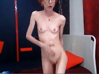 Amazing Skinny Gilf Fucks Her Dildo Standing Up