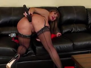 Asian Milf Ava Huge Black Dildo Anal