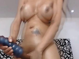 Busty Tranny Masturbate Her Big Cock