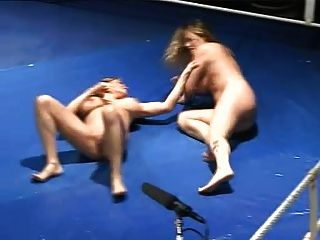 Big Busty Naked Oil Wrestling