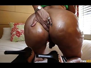 Booty Busty Shemale Milking Her Cock