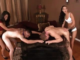 Two Females Have Fun Pegging Two Males.