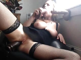 Double Penetrating Herself With Two Huge Dildos