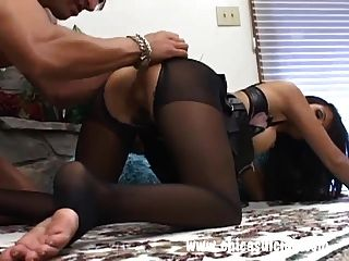 Busty Brunette In Pantyhose Got Her Ass Drilled