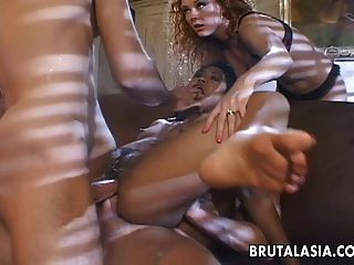 Very Sloppy And Nasty Double Penetration Fuck For The Asian