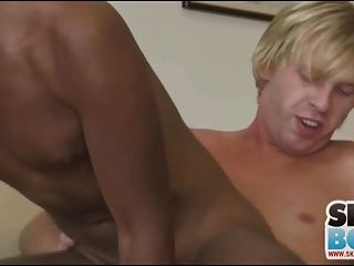 Black Boy And Blondie Have Anal Sex On A Couch